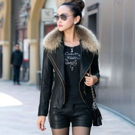 Women's fashion leather jacket with fur collar