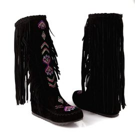 Women's calf length boots with tassels
